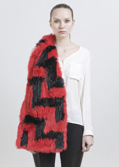 JEFFREY SCARF-FLAME SCARLET/BLACK