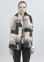 JEFFREY SCARF-DUSTY PINK/GREY/FOREST GREEN