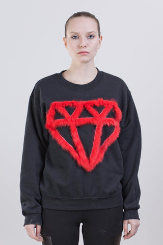 SHINE BRIGHT SWEATSHIRT- BLACK/FLAME SCARLET