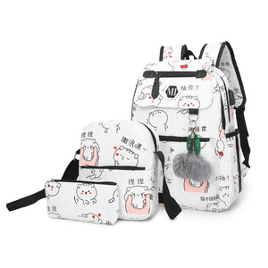 Canvas School Backpack for Teenagers and Women with USB Charging