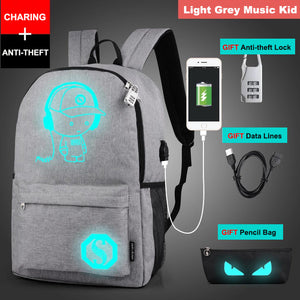 Stylish Student's Anti-theft USB Charging Laptop Backpack with Luminous Anime