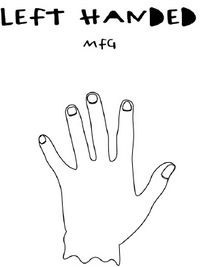 A line drawing of a left hand and text saying left handed mfg above the hand.
