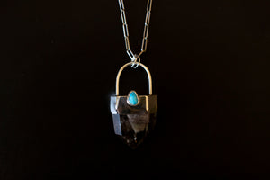 Kingman Turquoise Heart Protector Necklace