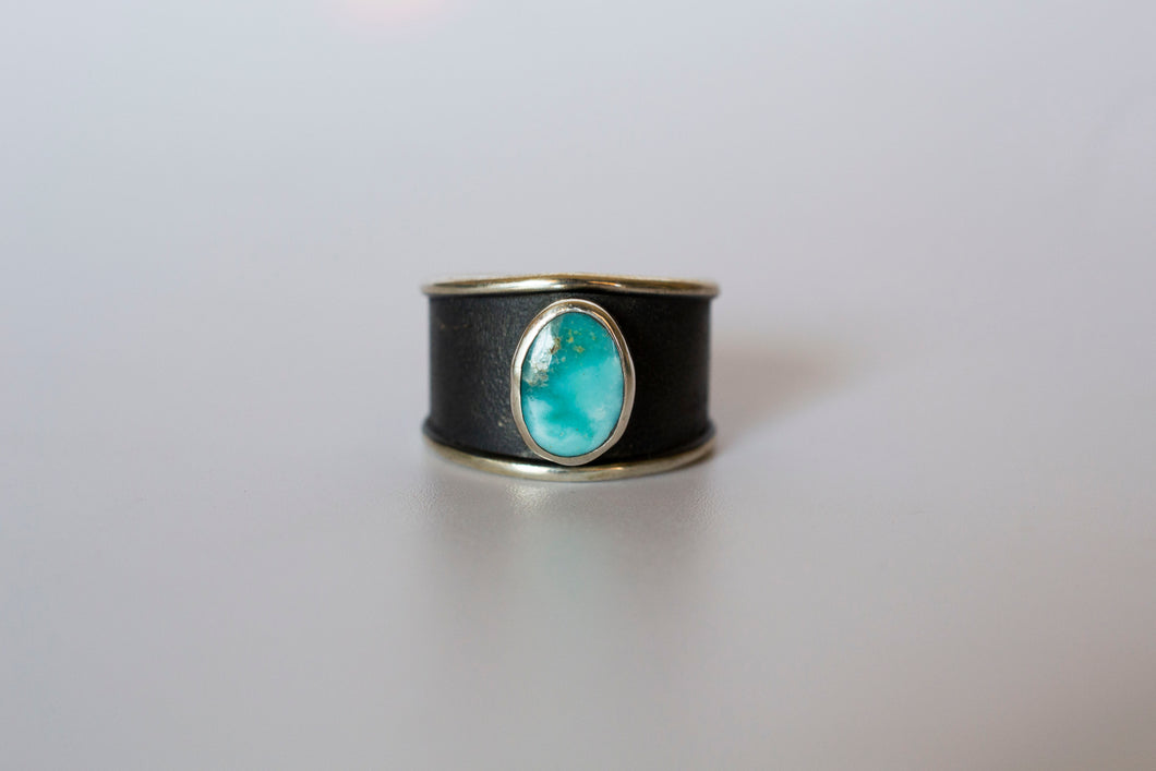 White Water Turquoise Statement Ring