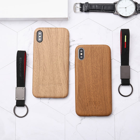 AMG & BMW M Wood Leather Case w/ Keychain