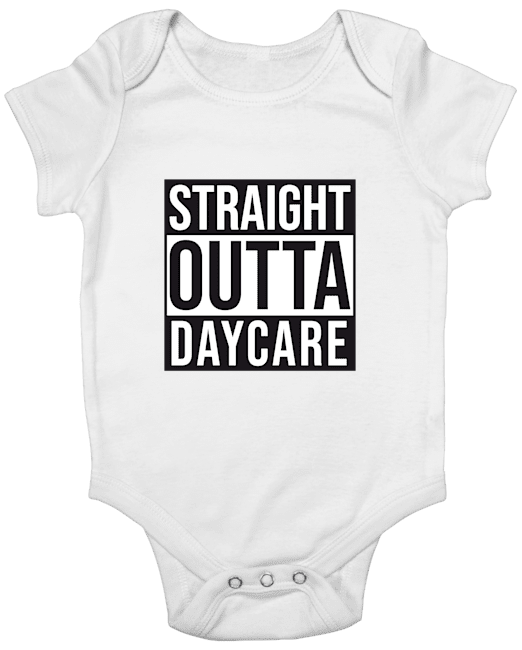 Straight Outta Daycare White Baby Romper