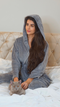 Grey hooded maxi fleece dressing gown