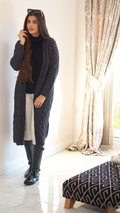 Charcoal chunky cable knit cardigan