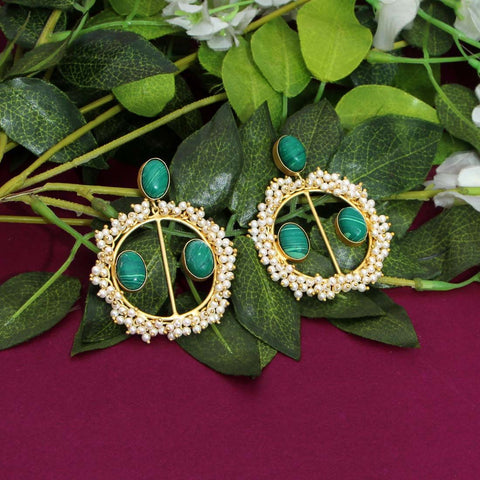 The Pearl Glass Stone Earring - Matte Green