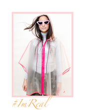 Load image into Gallery viewer, pink neon you see me neon you don't rain poncho