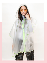 Load image into Gallery viewer, lime neon you see me neon you don't rain poncho