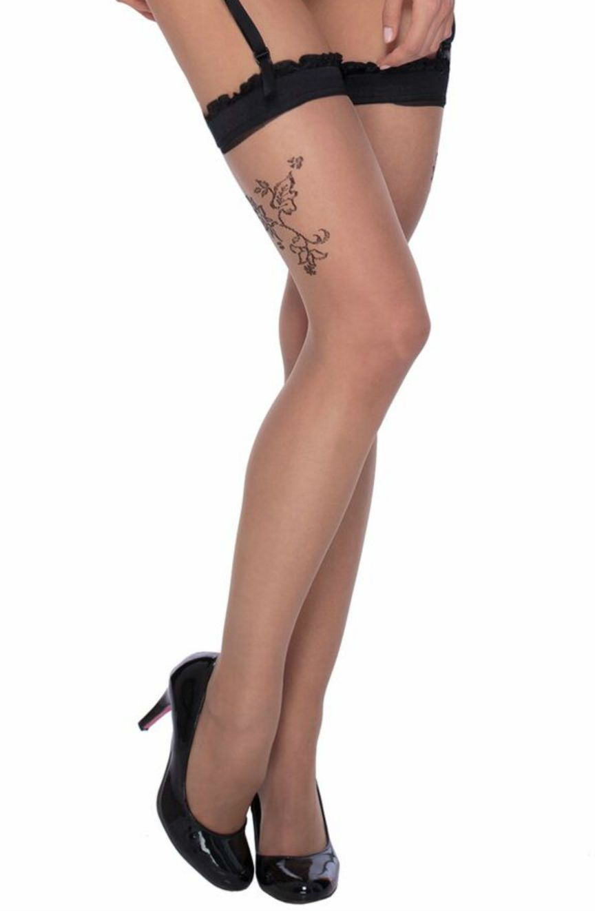Roza Mehendi Stockings Black - Lingerie Best Lingerie Eden