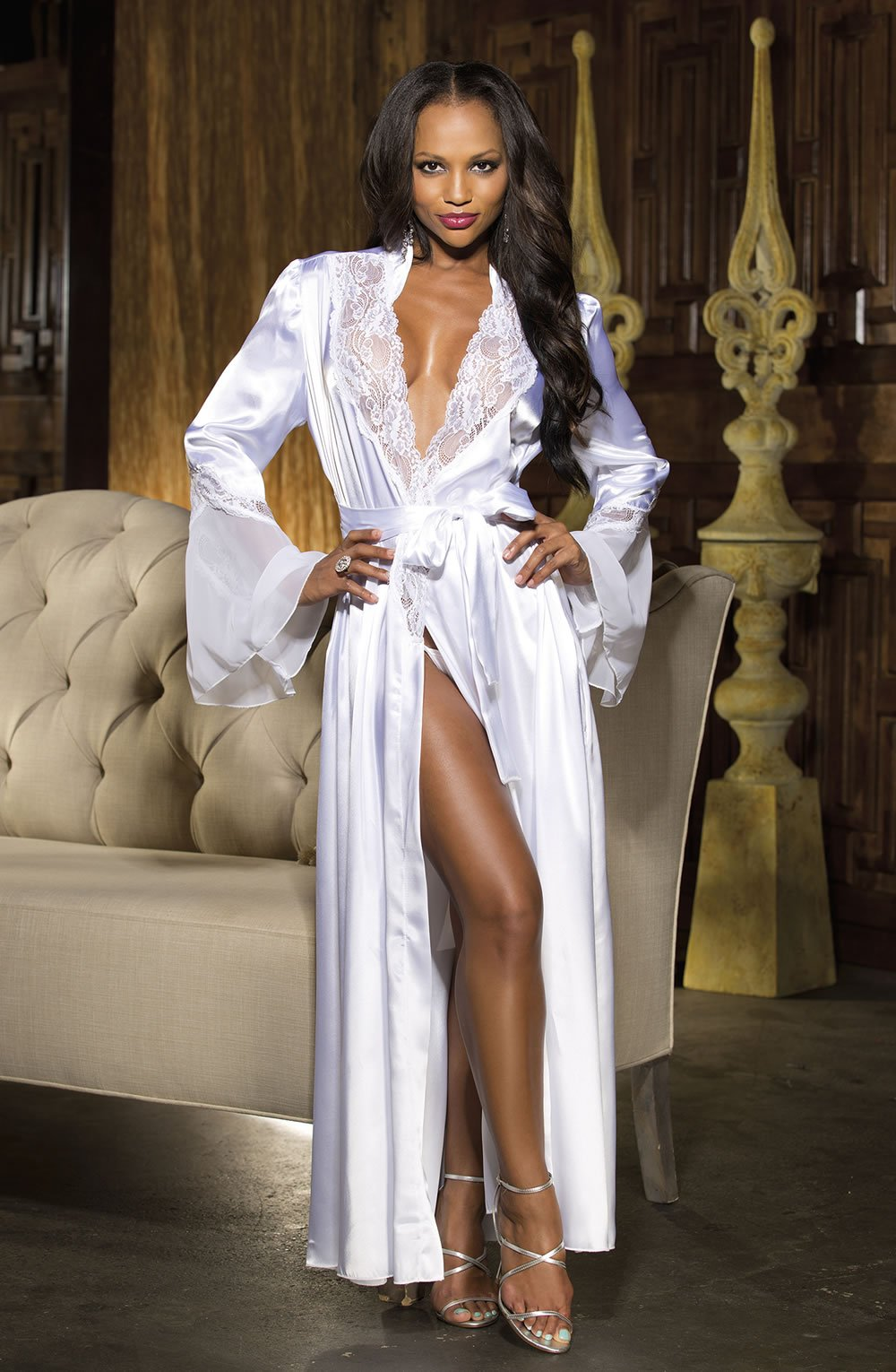 Shirley of Hollywood SoH 20559 Long Robe White - Lingerie