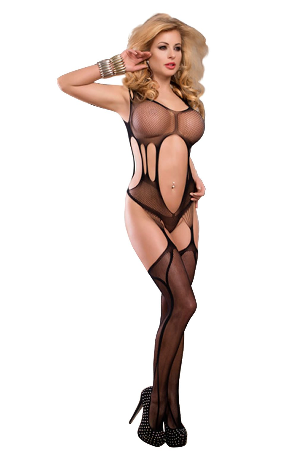 YesX YX402 Bodystocking Black - Black / S/M - Lingerie Best