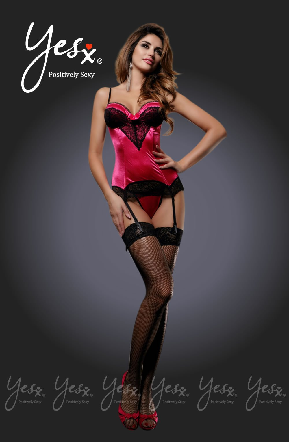 Yesx YX807 3pc Corset Thong & Stockings Rose/Black -