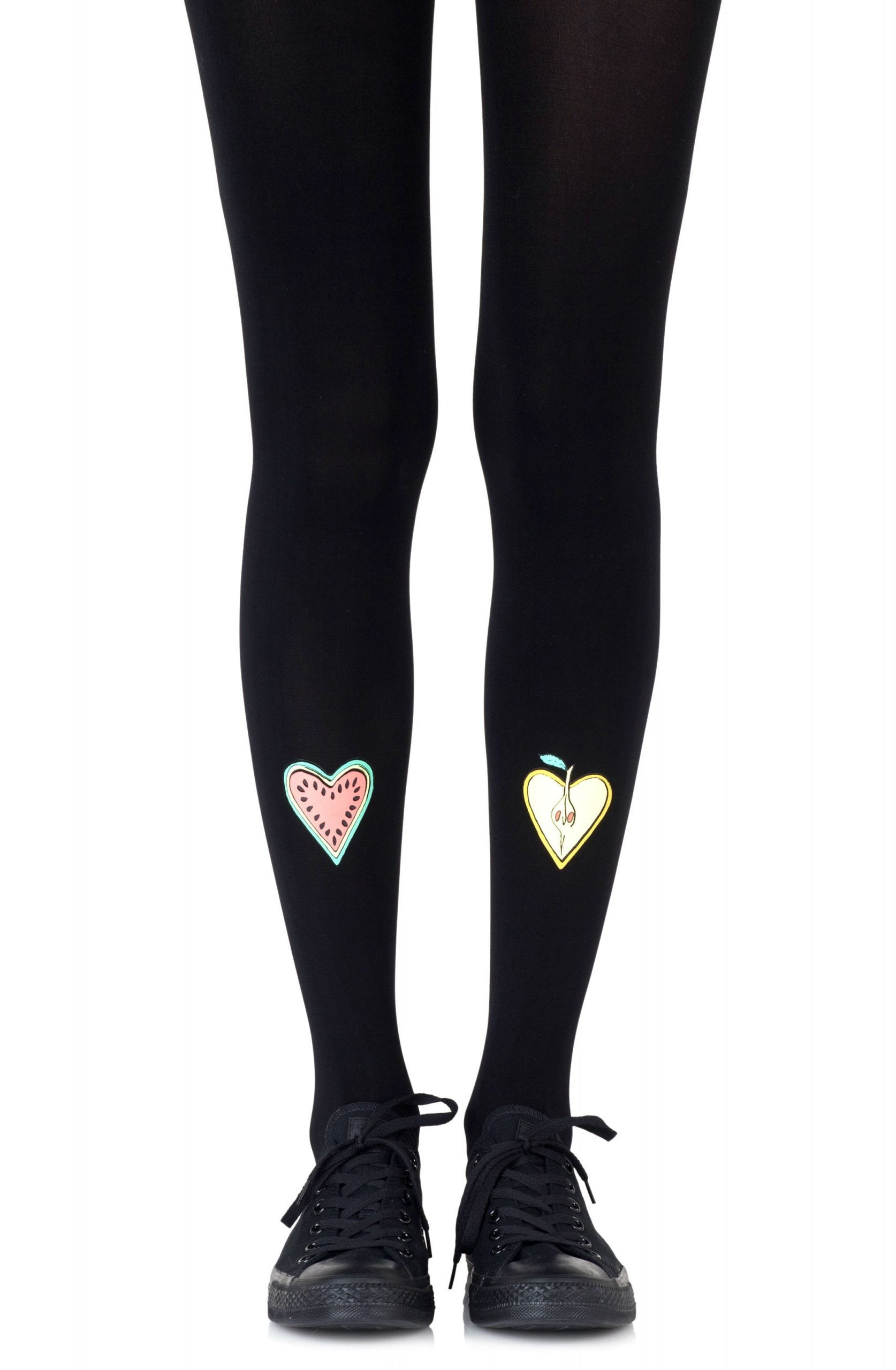 Zohara Fruit Cocktail Black Print Tights - Lingerie Best