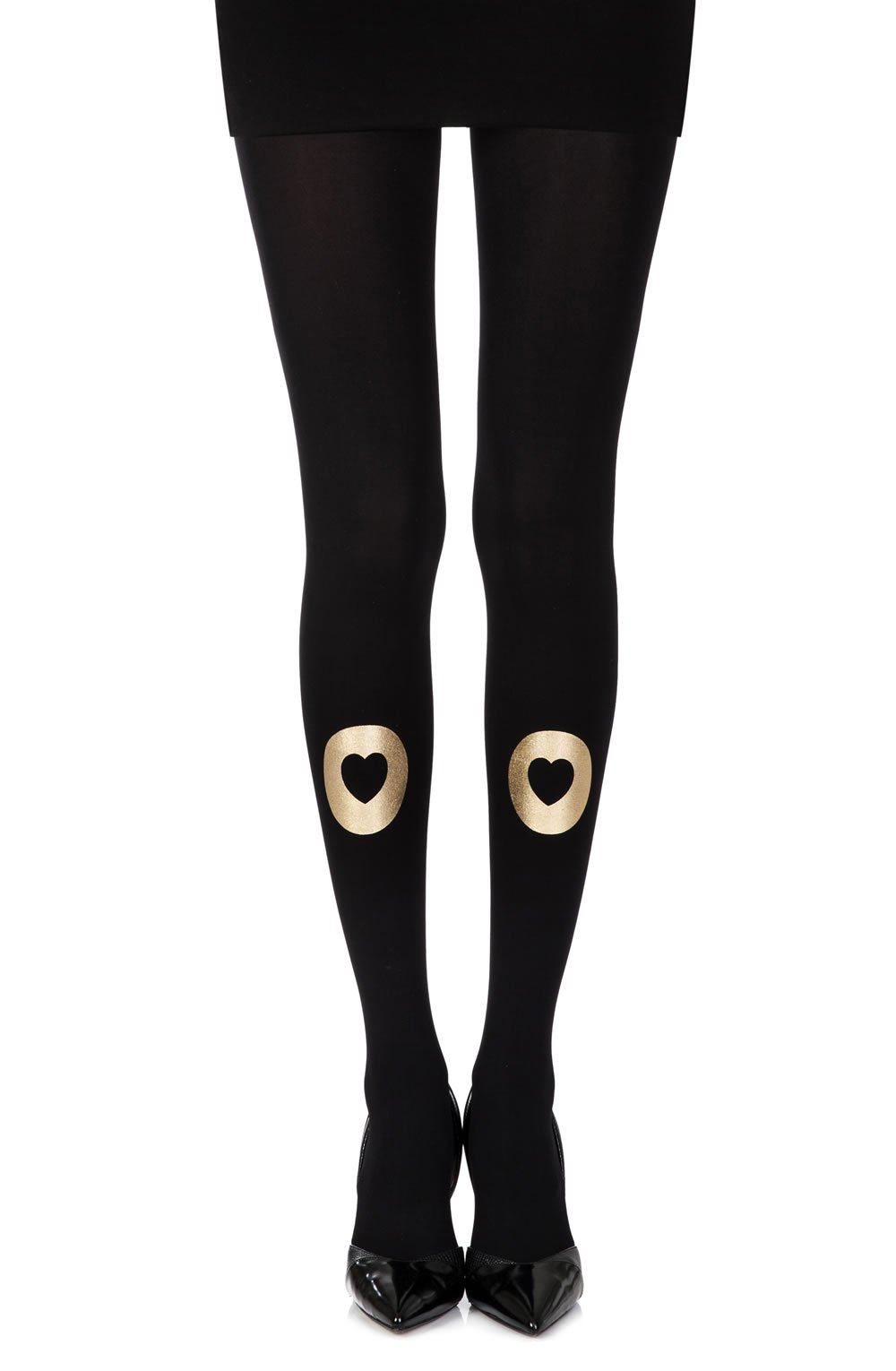 Zohara Into My Heart Black Print Tights - Lingerie Best