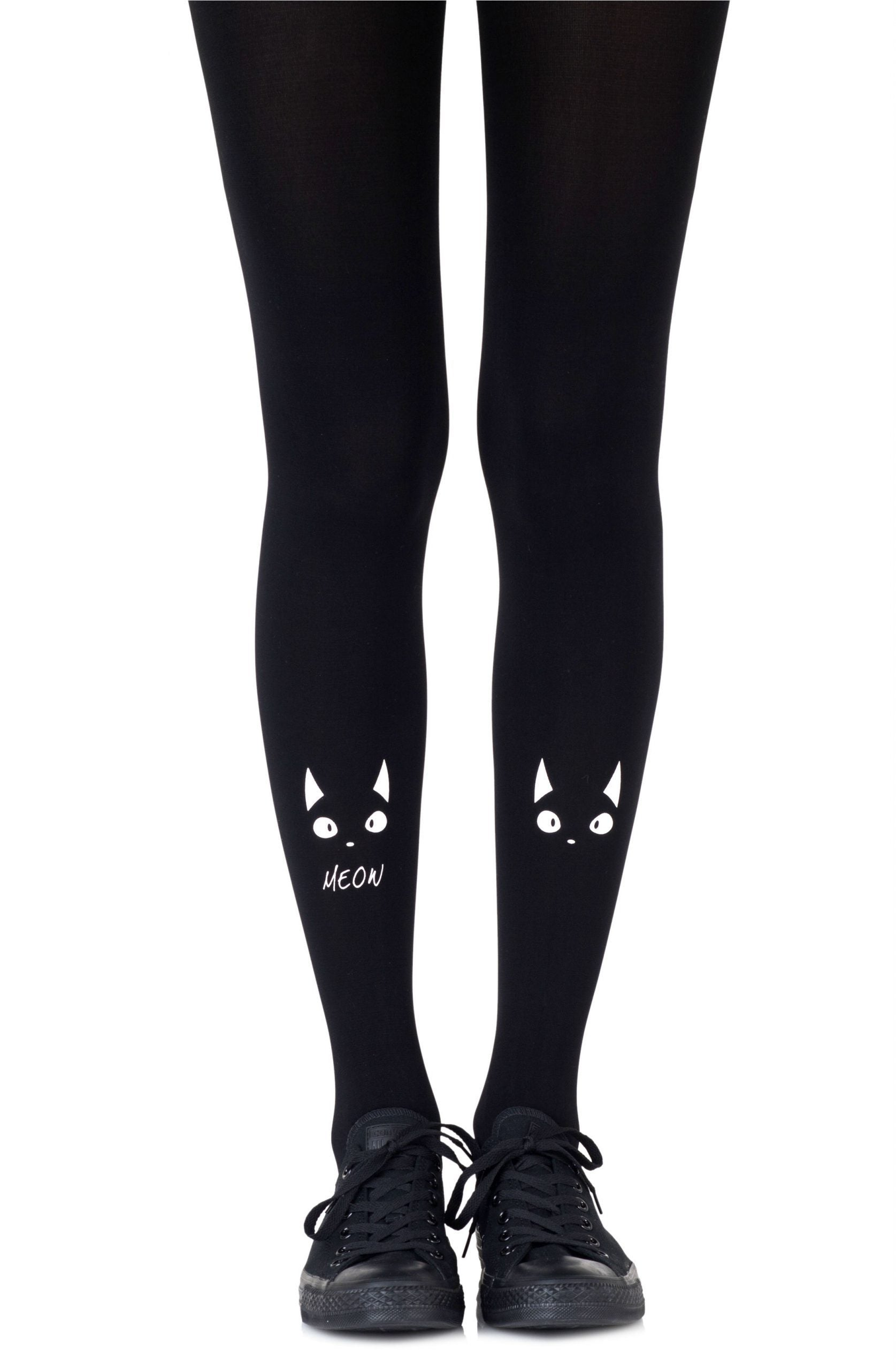Zohara Nice Kitty White Print Tights - Lingerie Best