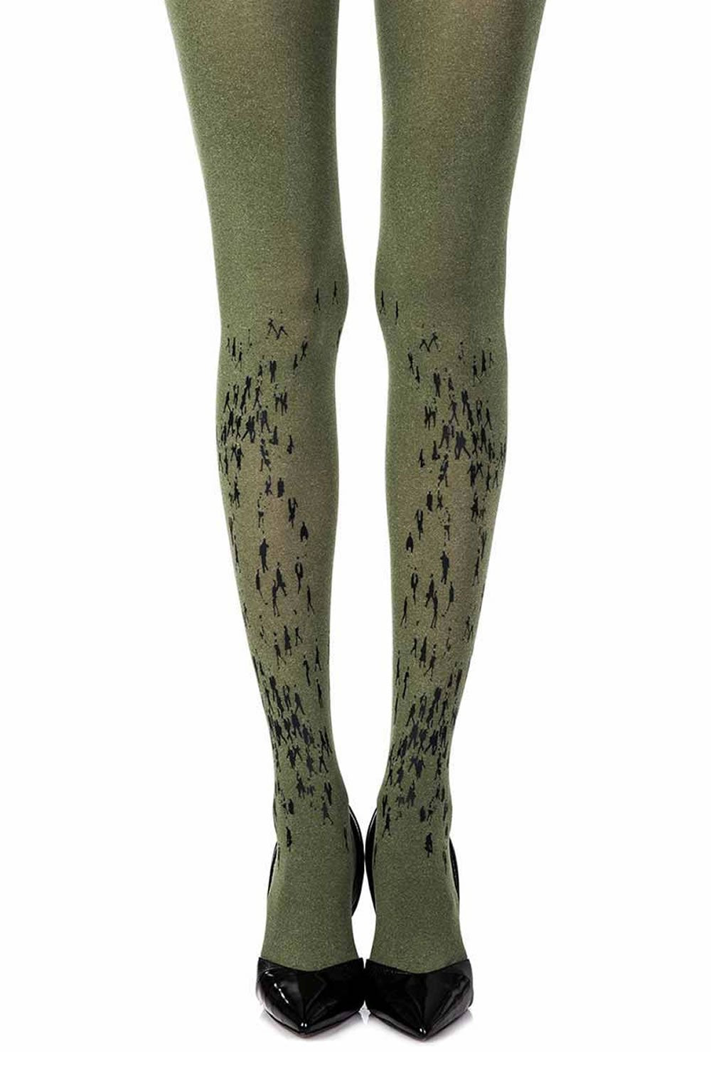 Zohara Walking By Green Print Tights - Lingerie Best