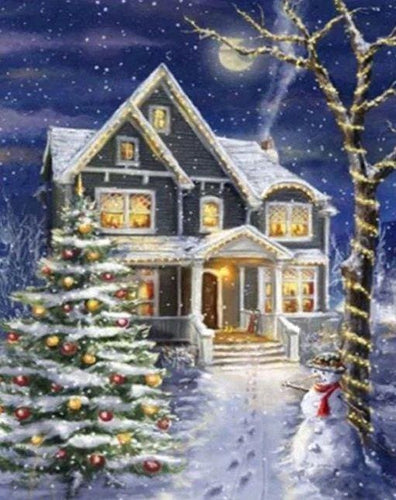 Broderie Diamant | Broderie Diamant - Maison décorée pour Noël | Broderie Paysages Noël paysages | FiguredArt