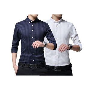 Pack of 2 Slim Fit Stripes Casual Shirt