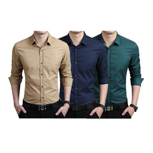 Combo of 3 Men's Shirt with Splash Printed with long sleeves