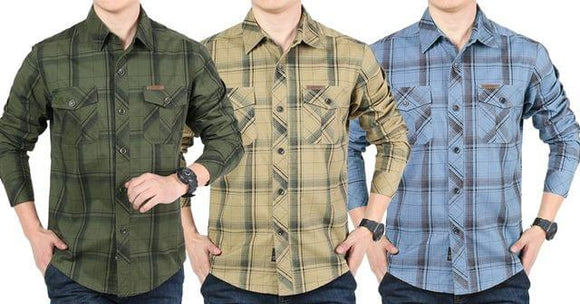 Combo of 3 New checkered Casual long sleeved 100% Cotton Slim Fit shirts for Men