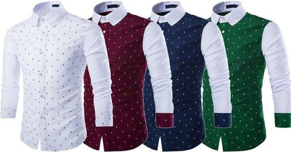 Combo of 4 New Branded Cotton Skull Prints Slim Fit Long Sleeve Shirts For Male