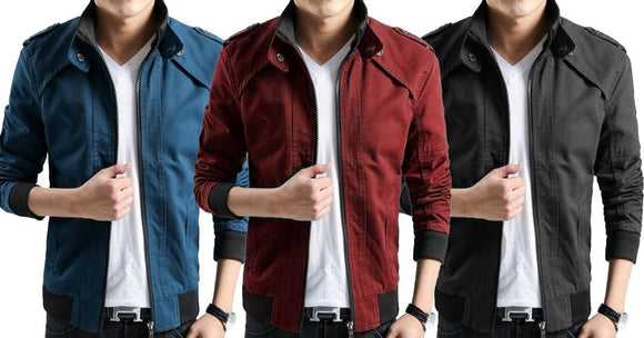 Combo of 3 New Casual Thin Slim Male Zip Stand Collar Solid Shirts