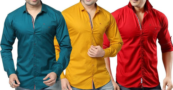 Combo of 3 Plain Style casual Men's Slim Fit Cotton Shirts