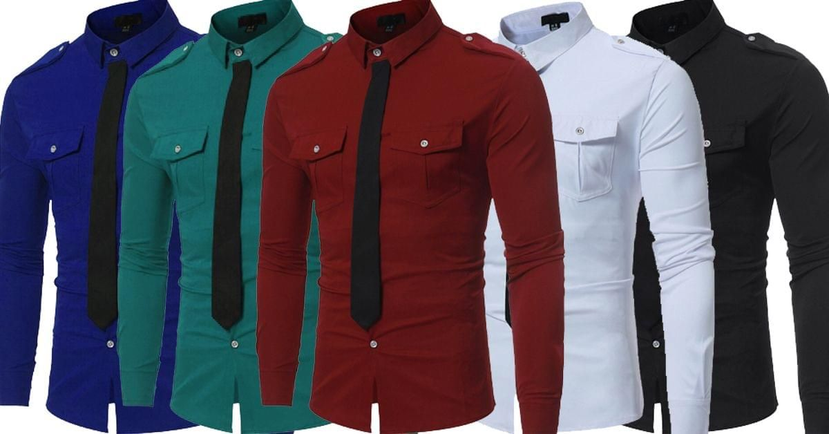 546bb589fbe8 Combo of 5 Unique Style Fake Tie Pocket Slim Fit Leisure Men's Button Shirts  - S