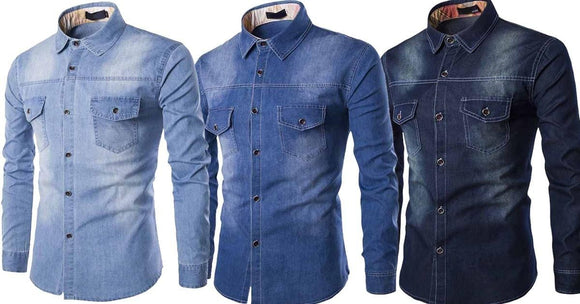 Combo of 3 Long Sleeve Casual Cotton Fashionable washed Shirts for Male