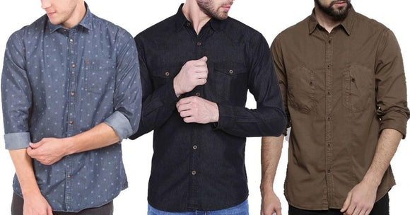 Combo of 3 Multi Stylish different look Fashionable shirts for Men