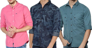 Combo of 3 Multi Stylish 3 color and 3 design men's shirts