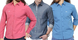 Combo of 3 Branded Pink, blue and light blue Solid Regular Fit Casual Shirts