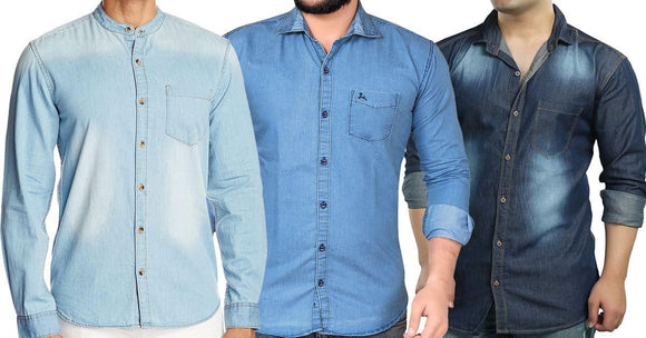 Combo of 3 Stylish Slim Fit Men's Casual Blue Washed Fashionable Shirts