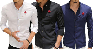 Combo of 3 fashion dress solid sexy club wear slim fit long sleeve solid latest Shirts