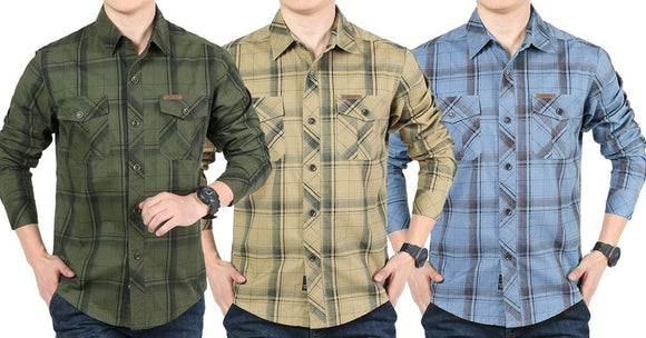 Combo of 3 New checkered Casual long-sleeved 100% Cotton Slim Fit shirts for Men