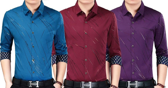 Combo of 3 Small Plaid Official Long Sleeves Slim Fit Shirts for Men