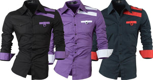 Combo of 3 New Fashion Casual Slim Fit Long Sleeves Korean Style Cotton Shirts for Men