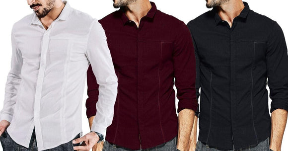 Combo of 3 New Patchwork Branded Long sleeves Slim Fit men's shirts