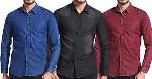 Combo of 3 New Long Sleeves 100% Cotton Men's Branded Fashionable Shirts