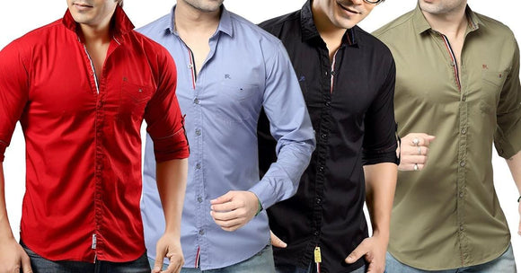Combo of 4 Plain Style casual Men's Slim Fit Cotton Shirts