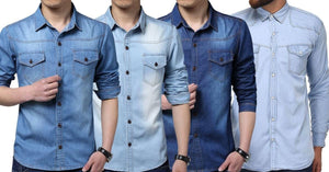 Combo of 4 Fashion Demi-season corrective Vintage wash with front pocket with long sleeves Fashionable shirts for men