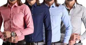 Combo of 4 New fashionable long sleeves solid color Slim Fit high quality Casual Shirts for Men