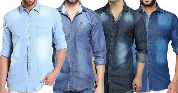 Combo of 4 New Men's Slim Fit Casual Fashionable Shirts