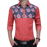Combo of 4 Branded fashionable long sleeves high quality British printing men's Shirts