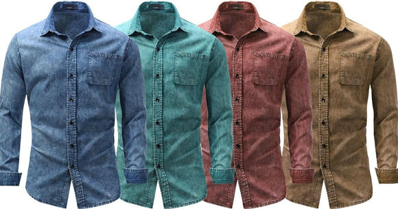 Combo of 4 New Fashion Fashionable long sleeve Jeans Shirts