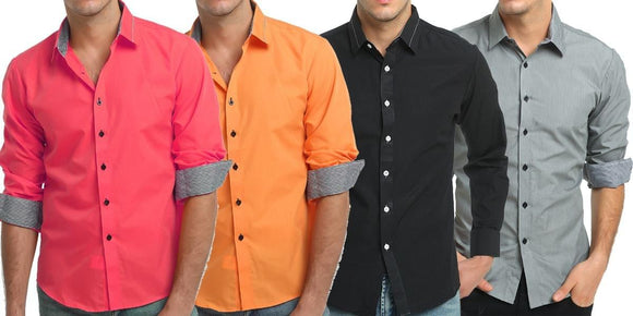 Combo of 4 Fashionable Solid Long Sleeve Men's Shirts