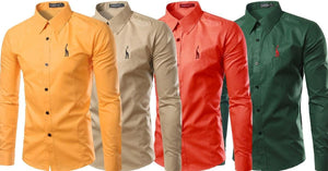 Combo of 4 New Long Sleeve Fashion Design Slim Fit Casual Button-Down Shirts For Man